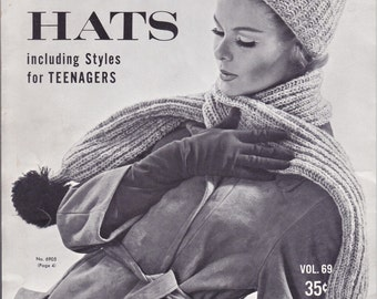 HAND KNIT HATS, 1962 Black and White Instructions, Fleisher, Bear Brand, Botany Yarns, Vintage Knitting Booklet