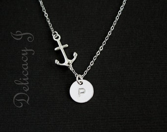 Silver Anchor Necklace Personalized Necklace Initial Necklace, Monogram Friendship Couple Necklace, Family Grandma Necklace, Christmas gift