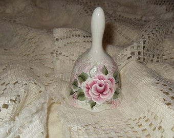 Victorian Cottage Chic Hand Painted Pink Rose  Porcelain Bell