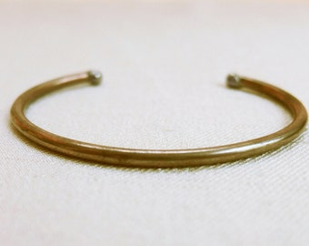 Vintage Brass Cuff Bracelet, Minimal Skinny Industrial Cuff Bangle Bracelet, Vintage 1990s Jewelry
