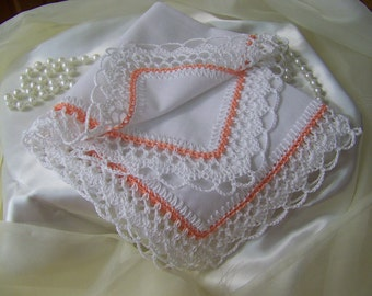 Crochet Handkerchief, Crochet Hanky, Crochet Hankie, Hand  Crochet, Crochet Lace, Peach, Personalized, Embroidered, Custom, Ready to ship