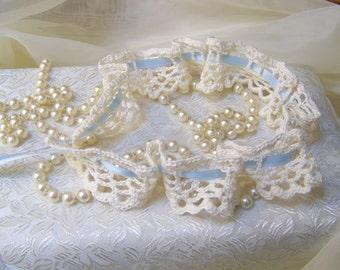 Lace Wedding Garter, Something Blue, Crochet Bridal Garter, Cream, Bridal Keepsake, Crochet Lace, Lingerie