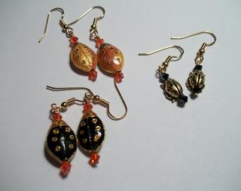 3  *LadyBug* Trio Earrings