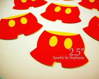 """Mickey Mouse Pants Die Cuts - Set of 12+ - 2.5"""" - Other Characters Available"""
