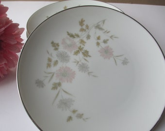 Vintage Noritake Barbara Pink Gray Floral Bread & Butter Plates Set of Four