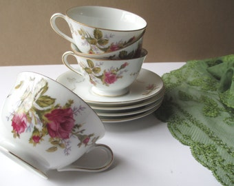 Vintage Teacups and Saucers Moss Rose Summit China Set of Four