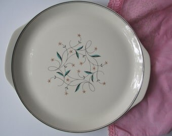 Vintage Lady Empire Permacal Pink Aqua Mid Century Mod Serving Platter