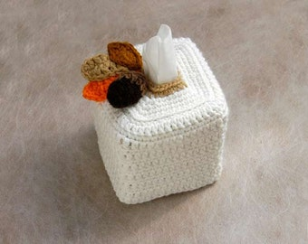 Rustic Decor Tissue Box Cover, Crochet Cover, Kleenex Box Holder, Acorn and Leaves, Earthy Room Home Decor, Storage, Cozy, Gift for Him