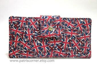 Sale - Handmade women wallet, London, Union Jack, British flag vegan - ID clear pocket - ready to ship