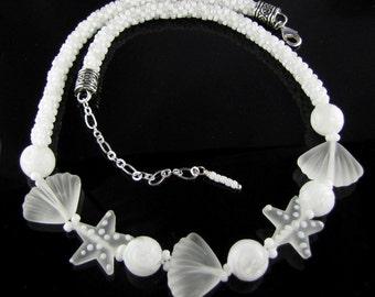White Seaside Kumihimo Necklace