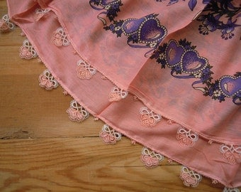 pink scarf with tatted edging, cotton square