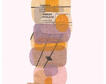 Brontee's Shade 1, print of my original mixed media artwork in shade of lavender,cream,pink and brown.