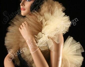 Fancy tulle boa gold and antique gold tie on should wrap bolero adult tutu shrug halloween burlesque -- Enchanted