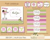 Mocha Little Ladybug Baby Shower Printables - Ladybug Baby Shower - Ladybug Shower Printable Package - Instant Download