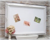 "LARGE WHITE FRAMED Dry Erase Board Magnetic Whiteboard Extra Large 44""x32"" Huge Baroque Decorative White Framed Dry Erase Board"