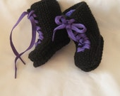 Hand knit Black and Purple Doc Martin Boots style, PUNK, GOTH Baby booties - special order for Michelle (blackbirdattic)