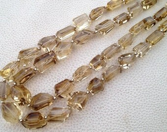 Brand New, 8 Inch Long Strand, Super Shiny CHAMPAGNE Quartz Faceted Nuggets, 12-15mm Long size,GORGEOUS