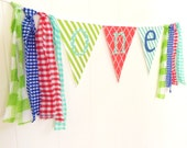 Fabric Garland Tassel Backdrop, First Birthday High Chair Banner Decor, ONE Bunting, Fabric Pennant Flags, Red, Lime, Mint, Navy, Photo Prop