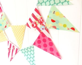 Shabby Chic Banner, Bunting, Pennant Fabric Flags, Decor Flower, Mint, Pink, Yellow, Baby Girl Nursery Decor, Newborn Photo Prop, Birthday