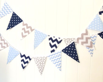 Bunting, Garland banner, Fabric Party Flags, Light Blue, Navy Blue, Grey, Polka Dot, Chevron, Boy Baby Shower, Birthday Garland, Photo Prop,