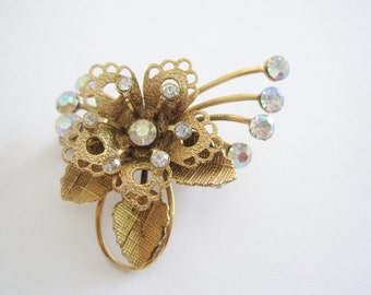 Vintage Gold Tone Delicate Flower Brooch with Iridescent Rhinestones