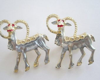 Vintage Gold and Silver Tone Set of Two Rams Brooches