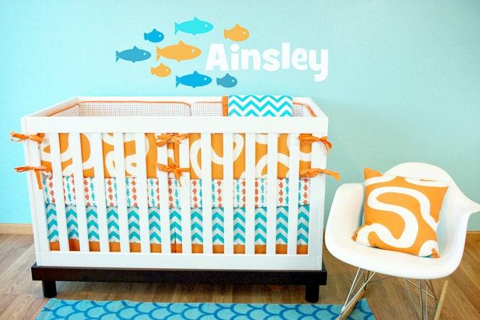 Fish crib bedding gender neutral baby bedding aqua orange for Fishing nursery bedding
