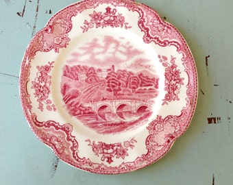 "Vintage Transferware Pink Red Old Britain Castles Johnson Bros England Small Dessert 6.5"" Pair"
