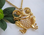 Lovely Frog Necklace #FreeShipping  Gold Tone with long Chain. Frogs symbolize Transformation, Cleansing,  Luck