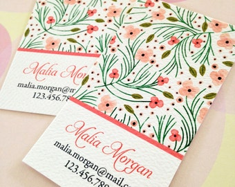 Personalized Floral Business Cards, Calling Cards - Set of 50