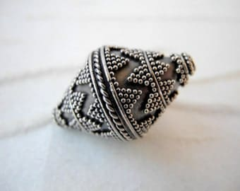 Bali Sterling Silver Bead Large Oxidized Silver Bicone Tube  28mm