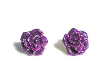 Purple Rose Cabochon Stud Earrings