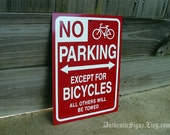 No Parking Except for Bicycles Sign Red