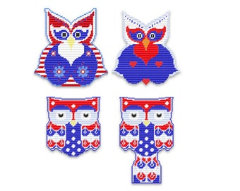 Plastic Canvas Happy Hootie 4th of July Wall Hangings  PDF FORMAT Instant Download