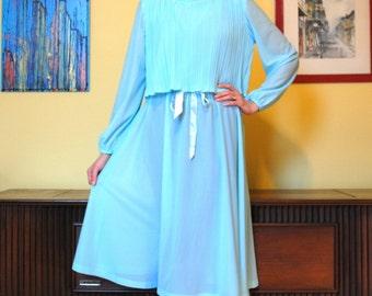 70s Sheer Dress / Aquamarine Vintage Gown Pleated Bodice Lady Carol of New York Women Blue Spring Robe Femme Millésime
