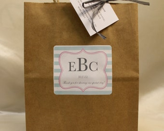 Personalized Wedding Welcome Guest Bags Mint and Pink with Grey Wording Includes Raffia and Welcome Note