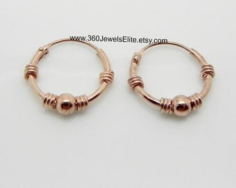 Confident rose wire hoop earrings, men's hoop earrings, cartilage earring, rose gold hoops, men's earrings, wire hoop earrings, 556R