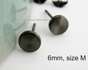 Black stud round disc mens earrings, black stud earrings, men's stud earrings, black gold stud earrings, nail it down, 420 6MB