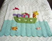 Noahs Ark crocheted picture cot or crib baby blanket,noahs ark baby blanket,crochet blanket,ark blanket,biblical,crochet,handmade by Fraline