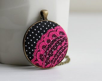 Hot Pink and Polka Dots - Hot Pink Lace Necklace, Hot Pink and Black Jewelry, Black and Pink Necklace, Quirky Jewelry, Black and White Dots
