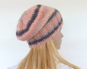 Hand knit hat - Pink chunky knit beanie - Apricot knit slouch hat - Womens hat