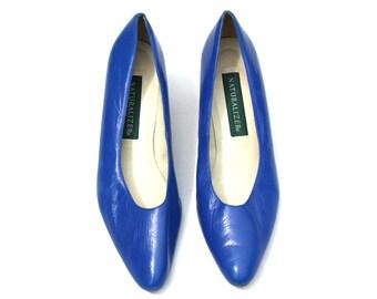 Vintage Naturalizer Blue Soft Distressed Leather Classic Dress Pumps Shoes Sz 10