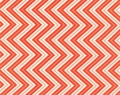Tangerine (Orange) Chevron (Small) from the Wrens Friends Collection, by Moda, 1 yard