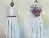 Vintage 1960s White Voile Dress Rockabilly Full Skirt Painted Floral Back