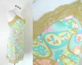 Vassarette Mod Pastel Print Mini Slip Vintage 1960s Lingerie