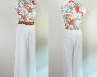 Vintage 1970s One Piece Pants Jumpsuit Romper Sleeveless Floral Top White Pant Bottom