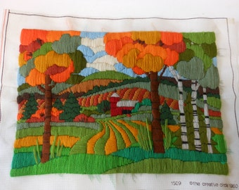 vintage finished stitchery, fall trees with barn, unframed, 11 1/2 by 16 inches, 1980