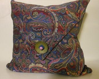 Handmade Decorative pillow, designer cotton textured paisley, multi colored, 20 inch.