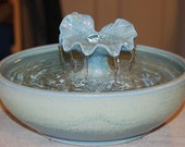 "Ceramic Cat Fountain, Handmade, Foodsafe -  ""Water Lily"" - 10.5 Inch Diameter"