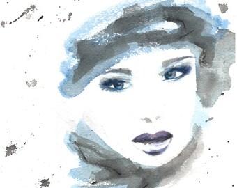 Russian Woman Original Watercolor